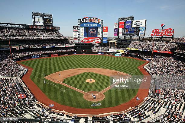 A view of Citi Field from the upper decks during the New York Mets game against the Washington Nationals on April 26 2009 in the Flushing...
