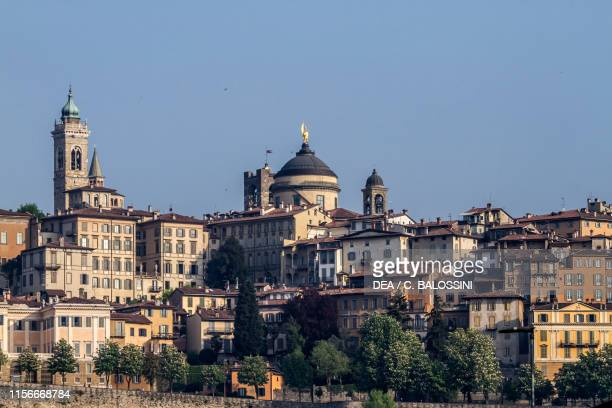 View of Citta Alta the Upper City Bergamo Lombardy Italy