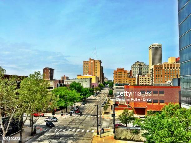 view of city against sky - nebraska stock photos and pictures