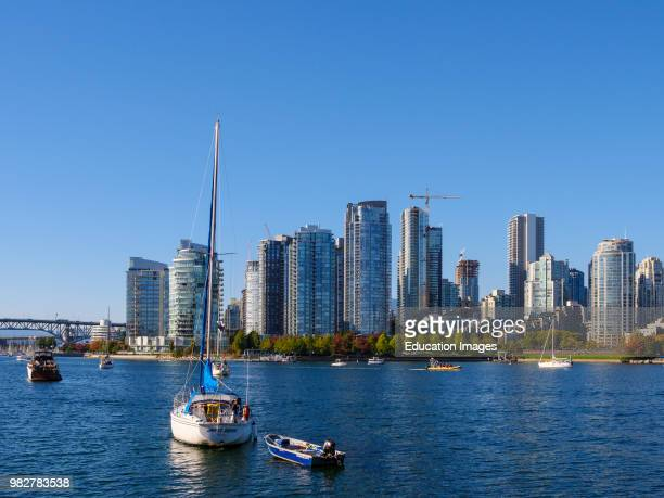 View of city and False Creek Vancouver British Columbia Canada