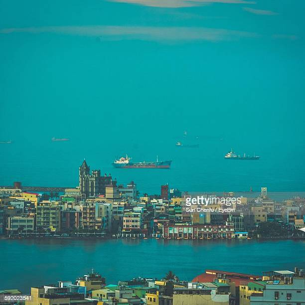 View Of City And Ships In Sea