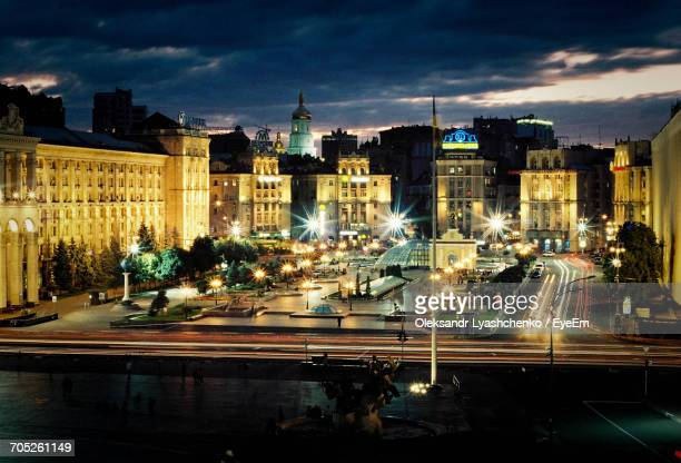 view of city at night - kiev stock photos and pictures
