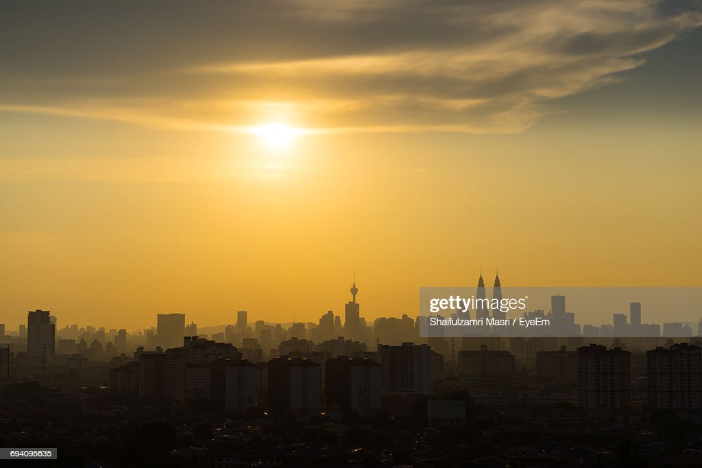 View Of City At Sunset : Stock Photo