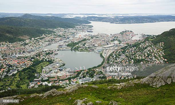 View of city Bergen with a the habor Norway on July 17 2015