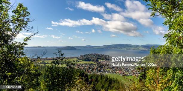 view of city bordering lake, rotorua, new zealand - rotorua stock pictures, royalty-free photos & images