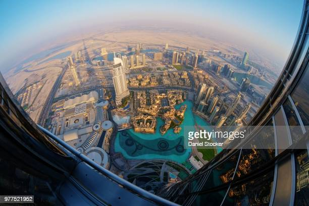 view of city from burj khalifa, dubai, united arab emirates - burj khalifa stock pictures, royalty-free photos & images