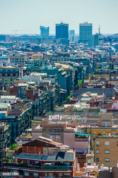 view of city of barcelona from sagrada familia - familia stock pictures, royalty-free photos & images