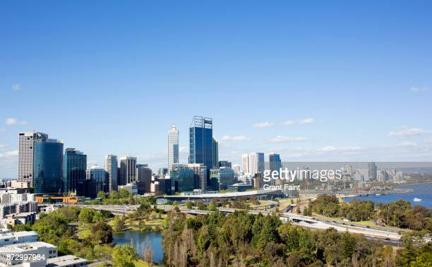 view of city. - perth australia stock pictures, royalty-free photos & images