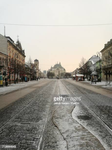 view of city street against clear sky - kosice stock photos and pictures