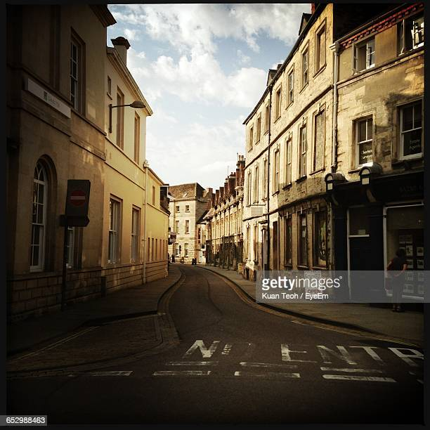 view of city street against sky - cirencester stock pictures, royalty-free photos & images