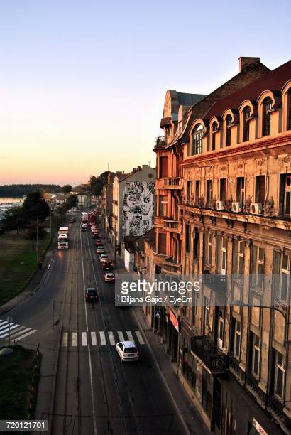 view of city street - belgrade serbia stock photos and pictures