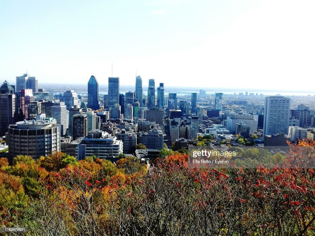 View Of Cityscape Against Clear Sky : Stock Photo