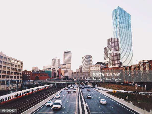 view of cityscape against clear sky - boston stock pictures, royalty-free photos & images