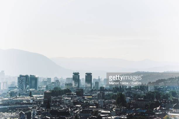 view of cityscape against clear sky - sarajevo stock-fotos und bilder