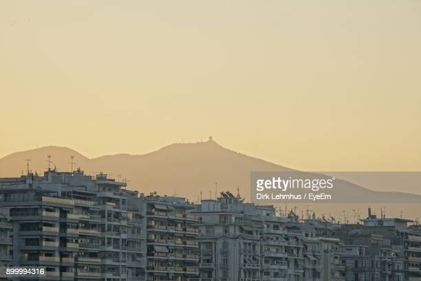 view of cityscape against clear sky - thessaloniki stock pictures, royalty-free photos & images