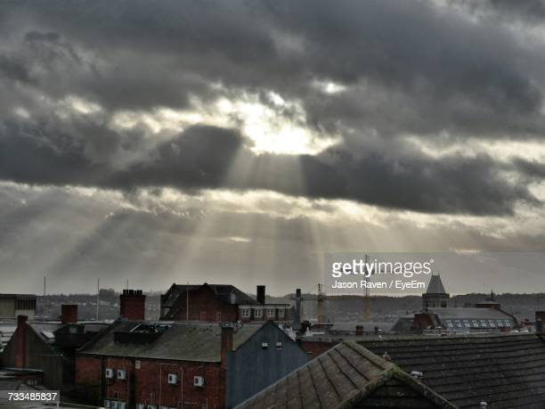 view of cityscape against cloudy sky - northampton england ストックフォトと画像