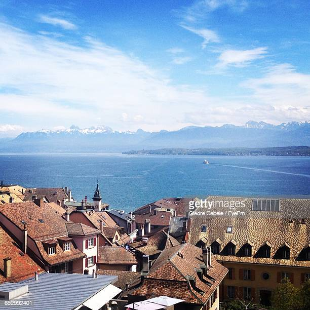 view of cityscape against sky - nyon stock pictures, royalty-free photos & images