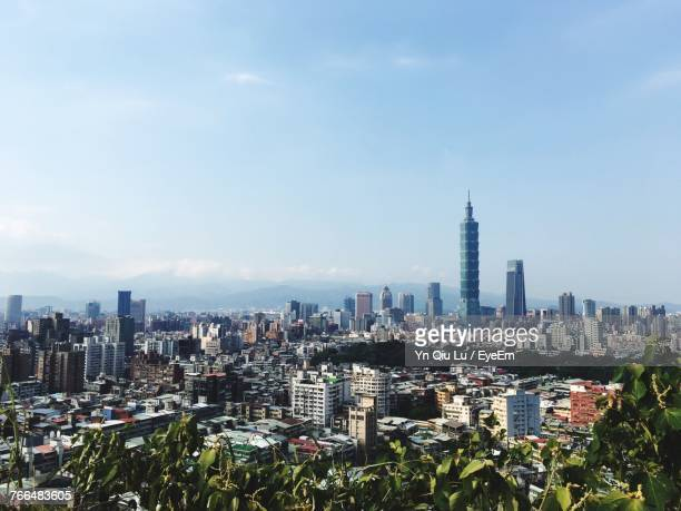 view of cityscape against sky - taipei stock pictures, royalty-free photos & images