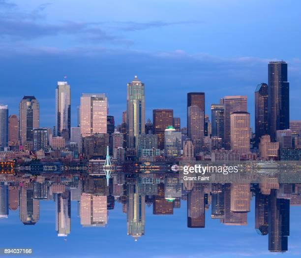 View of cityscape of Seattle  reflected in harbour.