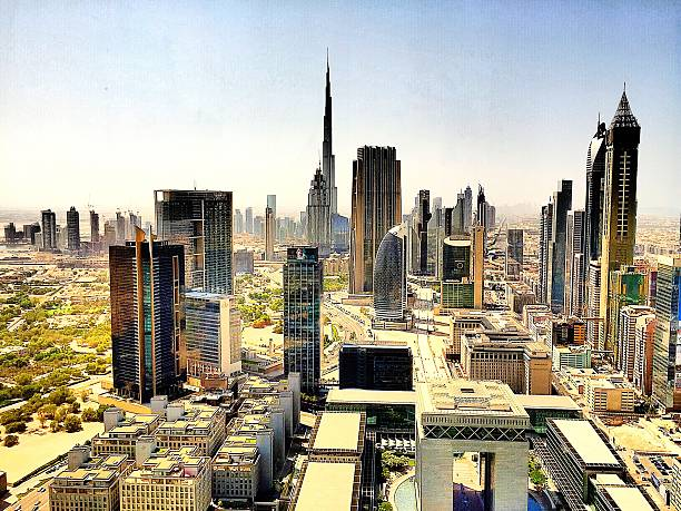 View Of Cityscape With Burj Khalifa Against Clear Sky Wall Art