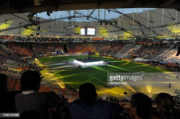 View of Ciudad de La Plata Stadium during the inauguration ceremony on Februery 17 in La Plata, Argentina, where in next July Argentina and Bolivian...