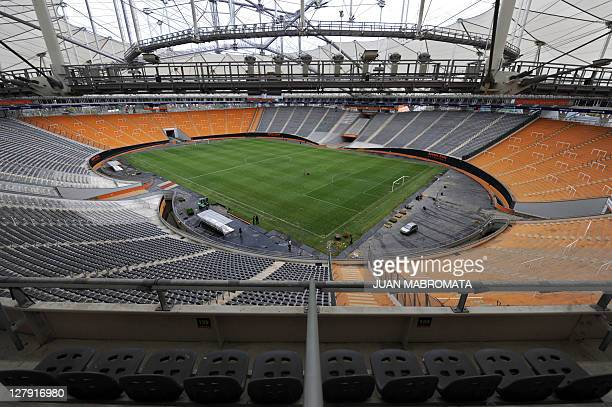 View of Ciudad de La Plata stadium in La Plata, some 62 Km south of Buenos Aires on April 20, 2011 which will host the opening football match of the...