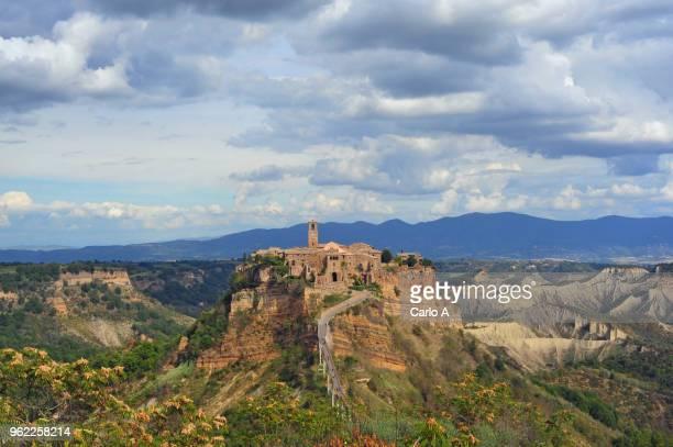 view of civita di bagnoregio ancient town in lazo italy - civita di bagnoregio foto e immagini stock