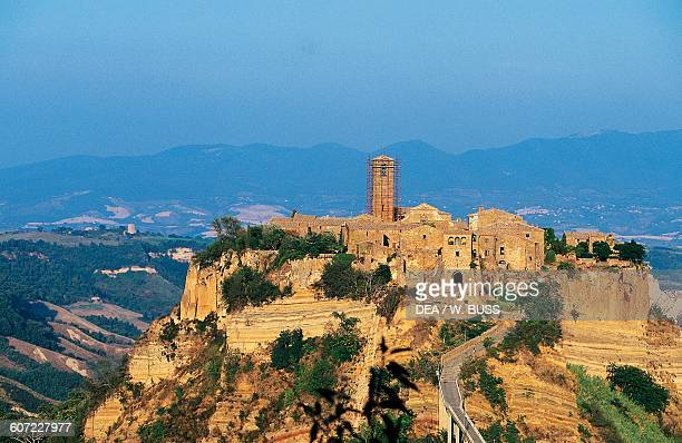 View of Civita di Bagnoregio village from the bridge Lazio Italy