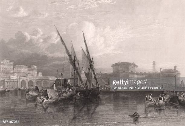 View of Civitavecchia with sailboats fishermen and the harbour in the foreground Lazio Italy steel engraving by JT Willmore from a drawing by W...