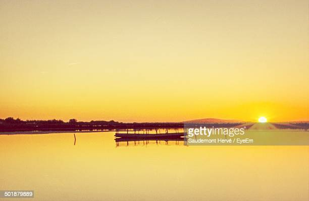 view of clam sea at sunset - herault stock pictures, royalty-free photos & images