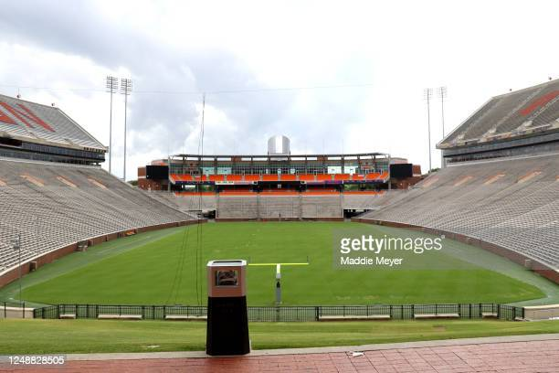 A view of Clemson Memorial Stadium on the campus of Clemson University on June 10 2020 in Clemson South Carolina The campus remains open in a limited...