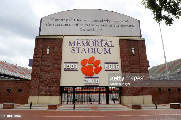 View of Clemson Memorial Stadium on the campus of Clemson University on June 10, 2020 in Clemson, South Carolina. The campus remains open in a...