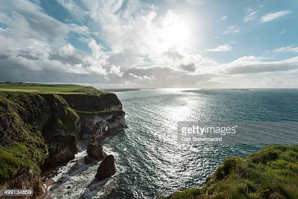 View of cliff coastline, Glenariff, County Antrim, Northern Ireland, UK
