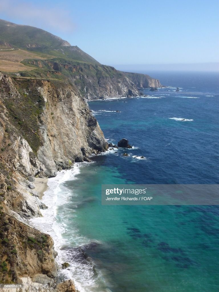 View of cliffs near sea : Stock Photo