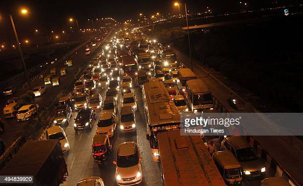 A view of clogged road near Geeta Colony as huge traffic jam was witnessed in the evening due to the ongoing IndiaAfrica Forum Summit on October 29...