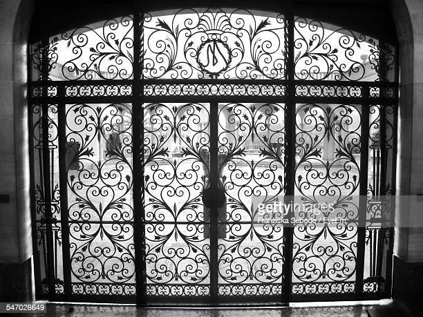 view of closed entrance - metal grate stock pictures, royalty-free photos & images