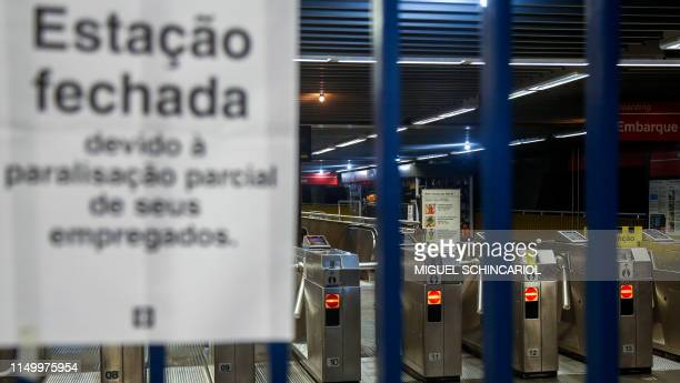 View of closed metro station in Sao Paulo Brazil on June 14 during a national strike called by trade unions over Brazilian President Jair Bolsonaro's...
