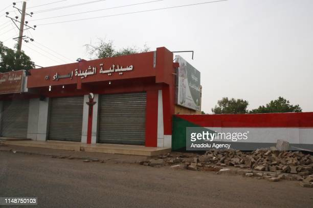 View of closed shops at streets are seen during a general strike after the call of the opposition Sudanese Professionals Association , in Khartoum,...