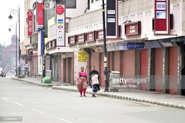 View of closed shops near Goal Hatti Chowk during the weekend lockdown imposed by Punjab government as a preventive measure against the spread of...