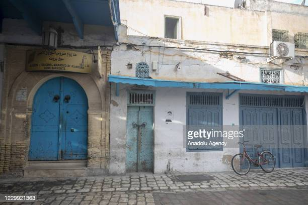 View of closed stores as all tradesmen went on a strike on the call of the Tunisian General Workers Union and closed their workplaces in Kairouan,...