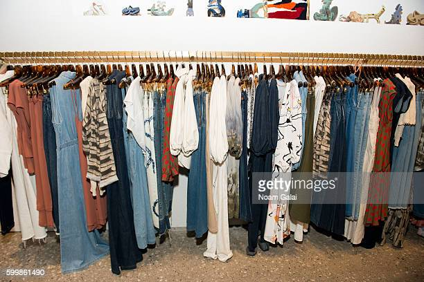 A view of clothing racks backstage at the Rachel Comey fashion show during New York Fashion Week September 2016 on September 7 2016 in New York City