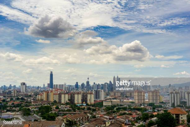 View of cloudy day over downtown Kuala Lumpur, capital city of Malaysia.