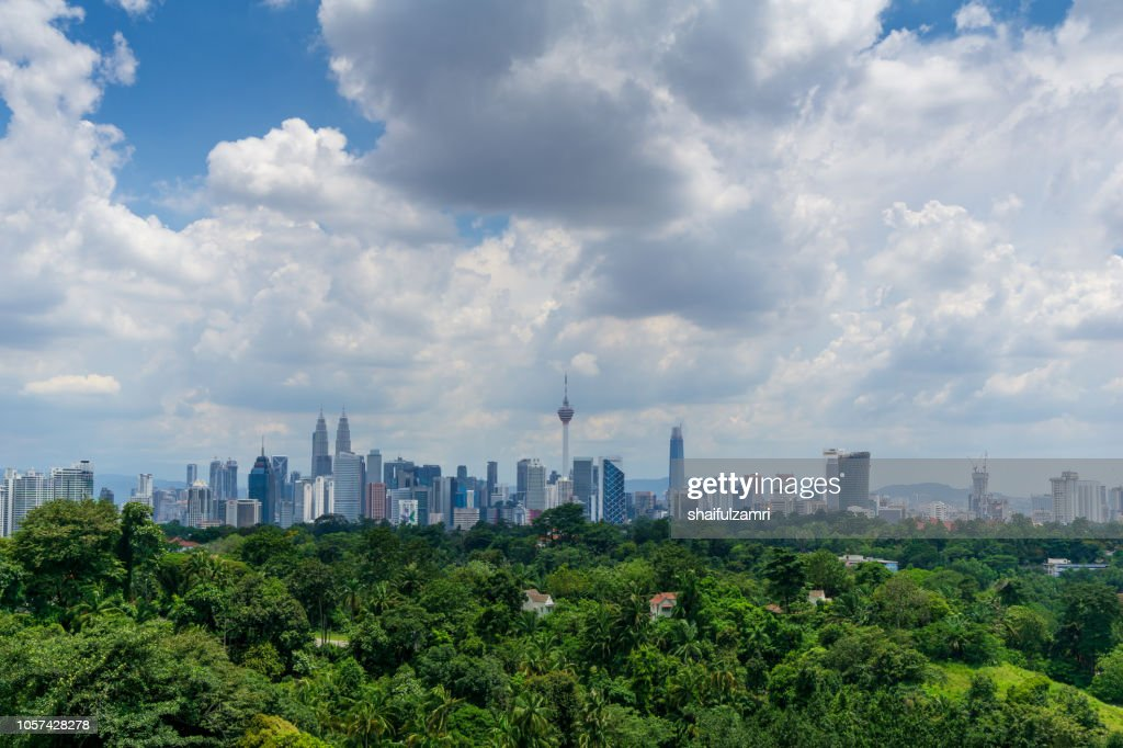 View of cloudy day over downtown Kuala Lumpur, capital city of Malaysia. : Stock Photo
