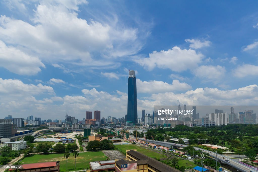 View of cloudy day over Exchange 106 tower (formerly known as TRX Signature). The tower still under construction and will become highest tower in Malaysia. : Stock Photo