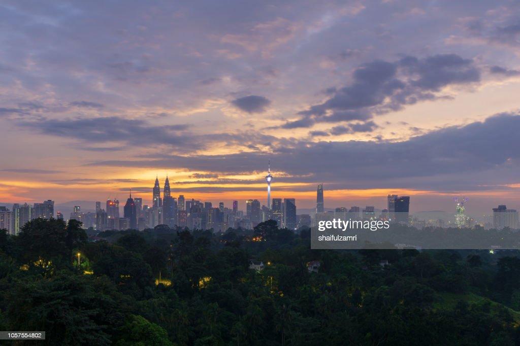 View of cloudy sunrise over downtown Kuala Lumpur, Malaysia : Stock Photo