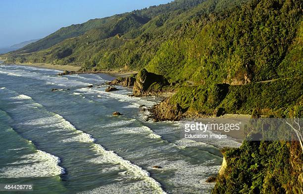 View of coaSt with bays and headlands from Irimahuwheru view point March Waves North of Greymouth West CoaSt New Zealand