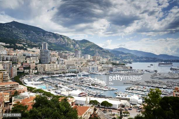 view of coastline and harbor, monte carlo, monaco - monte carlo stock pictures, royalty-free photos & images
