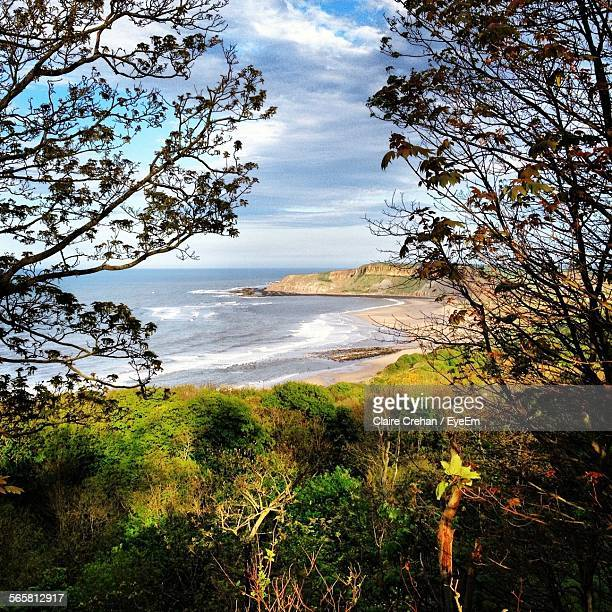 view of coastline - scarborough uk stock photos and pictures