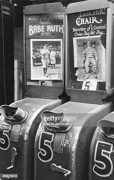 View of coinoperated movie viewers in an arcade New York New York January 29 1964 The one on the left advertises 'Stars of the Diamond with Babe Ruth...