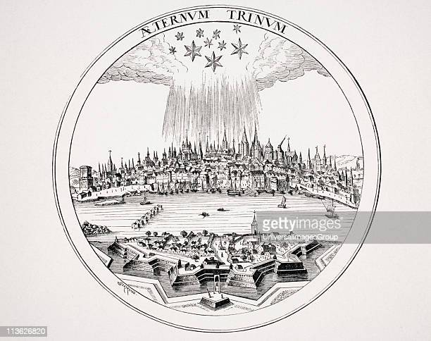 View of Cologne in 16th Century from copper engraving in P Bertius´s Theatrum Geographicum The three large stars may represent the Holy Trinity and...